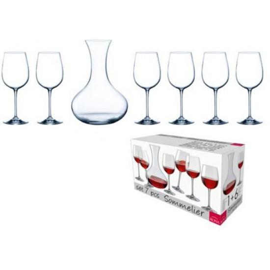 Комплект гарафа и 6 чаши за вино, Рона Словакия