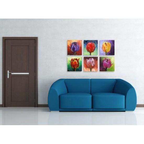 """Картина пано """"Рисувани лалета"""", 6 бр. 20 * 20 см"""
