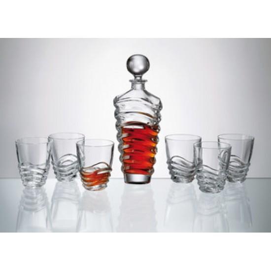 Комплект за уиски Wave, 7 части, Crystalite Bohemia