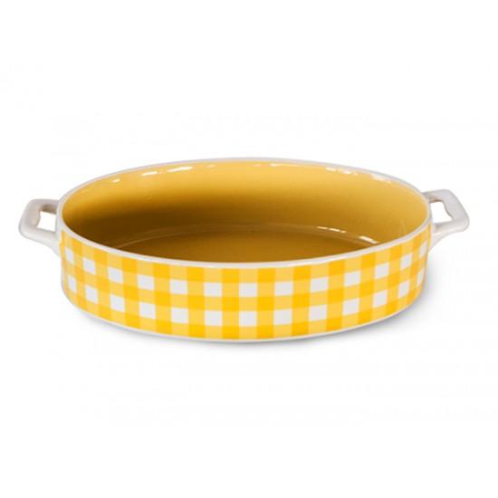 Керамична тава с дръжки Жълто каре, овал, Vila Rica Бразилия