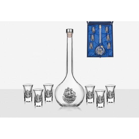Бутилка за ракия с 6 чаши Кораб, Freitas & Dores Португалия