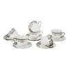 керамичен сервиз за кафе сребро 6 души