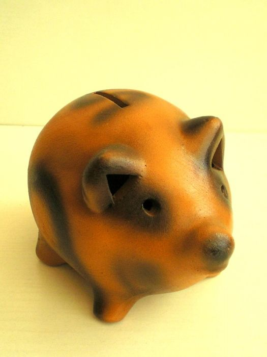 Керамична касичка прасе, кафяво