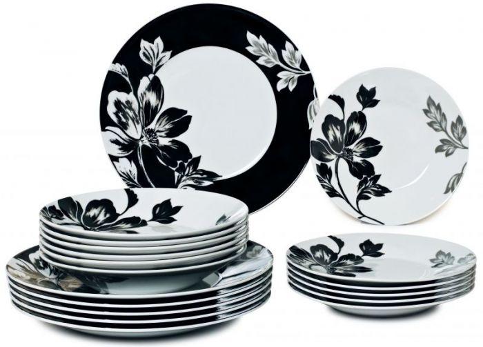Сервиз за хранене бяло и черно, порцелан