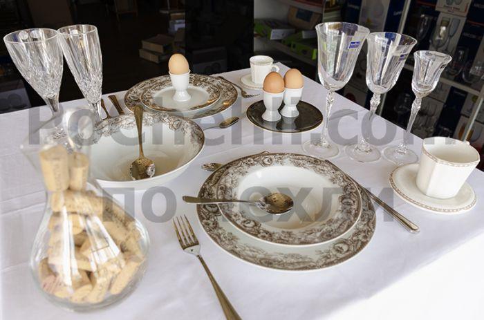 Порцеланов сервиз за хранене бяло и кафяво