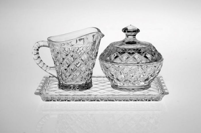 Кристална захарница и каничка Bohemia
