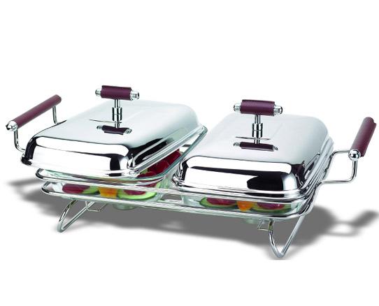 Двоен съд за топло сервиране с подгряващи свещи, серия NAPPA