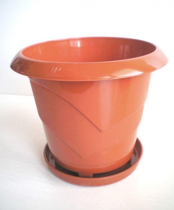 Саксия с декорация 21 см + подложка