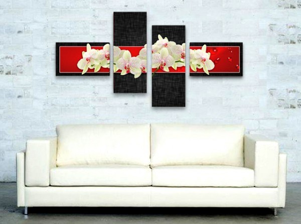 Картина Орхидеи в черно и червено
