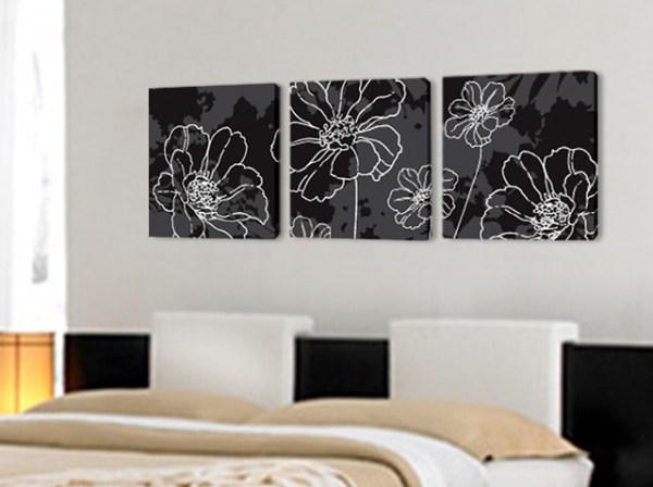 Пано за стена цветя в бяло и черно