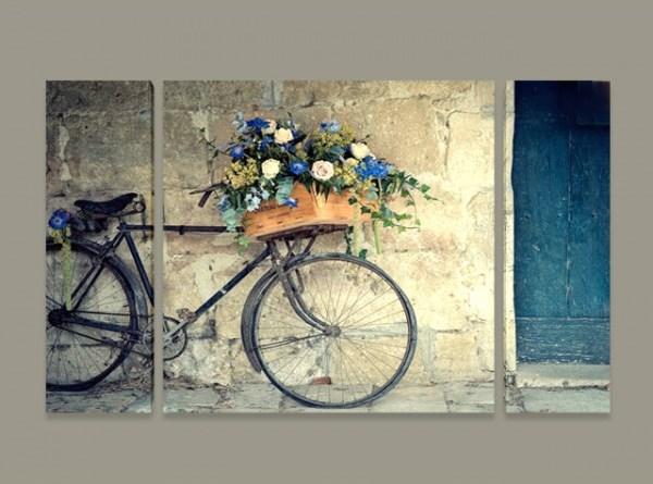 Картина пано Колело с цветя, близък план