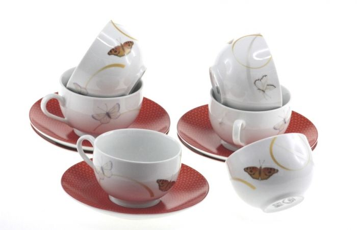 Сервиз за чай и кафе Пеперуди, порцелан, 12 части