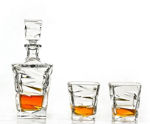 Бохемия, кристален комплект за уиски Зиг Заг, Бохемия