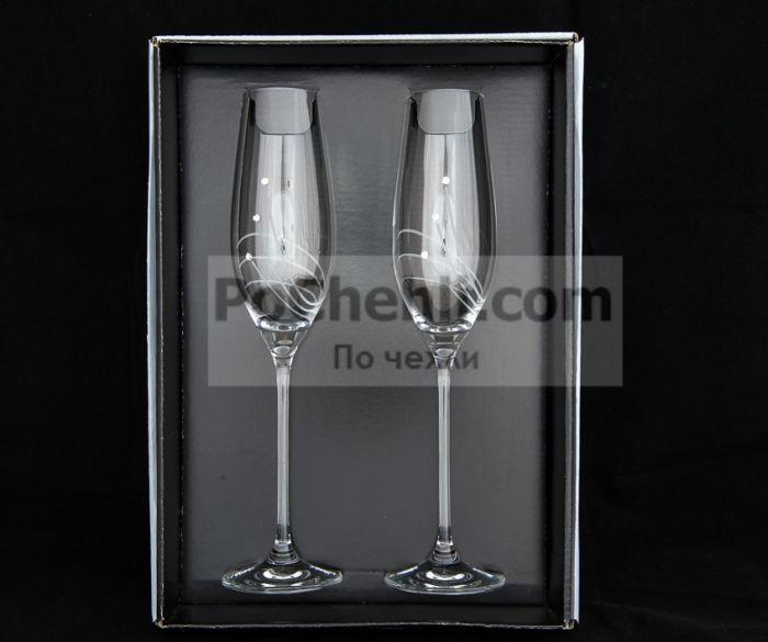 Чаши за шампанско Diamant Flowers, елементи Swarovski