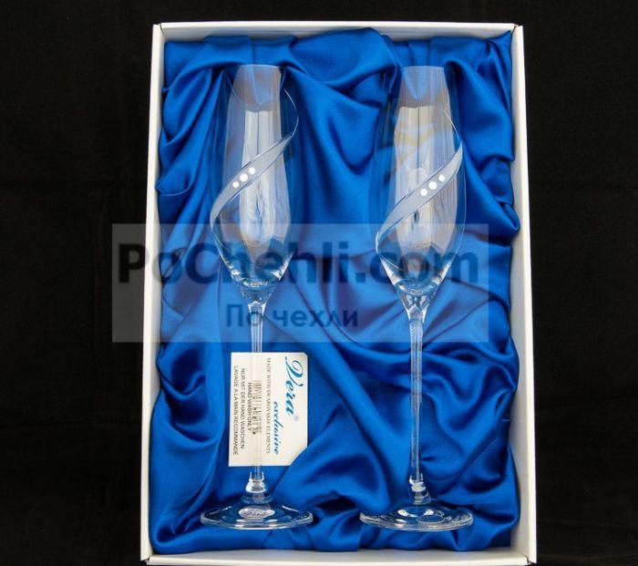 Чаши за шампанско Diamant Ribbon, елементи Swarovski, Vera Exclusive, Словакия