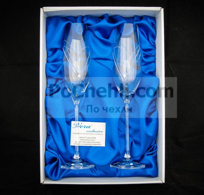 Чаши за шампанско Diamant Hearts, елементи Swarovski, Vera Exclusive, Словакия