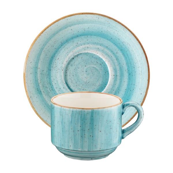 Порцеланова чашка с чинийка Aqua 210 мл, Bonna Турция