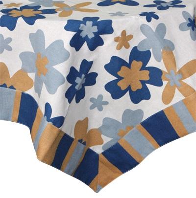 Покривка за маса Цветя в синьо, памук