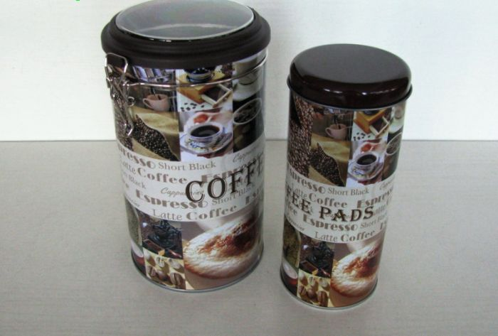 Комплект метална кутия Кафе 2 броя