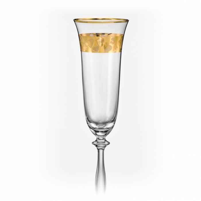 Ритуални чаши Сърца златен кант, 190 мл, Crystalex Bohemia