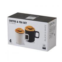 Керамични чаши за чай в бяло и черно с капачета 15998