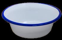 Ретро емайлирана купа в бяло и синьо 24 см