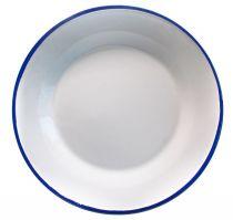 Метална чиния 22 см Ретро бяло и синьо