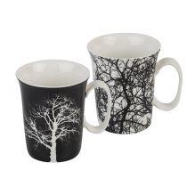 Чаши за кафе в бяло и черно Дърво