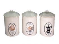 Метални кутии за съхранение за кухнята, цвят крем