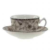 Чаши за кафе Цветя в кафяво