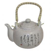 Бял керамичен чайник с цедка