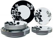 Порцеланов сервиз за хранене Бяло и черно, 18 части