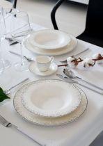 Бял порцеланов сервиз за хранене Platinum Rain 6581 - Pochehli