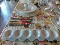 Поставка за 6 варени яйца, бял порцелан