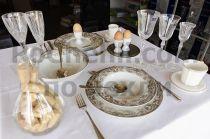 Порцеланов сервиз за хранене бяло и кафяво 8910 - Pochehli