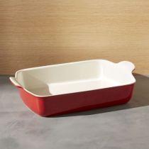 Правоъгълна керамична тава в бяло и червено emile Henry