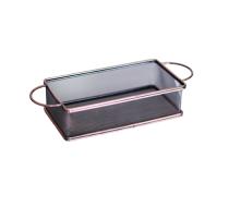 Метална кошничка за сервиране с две дръжки 21*11*6 см, цвят мед