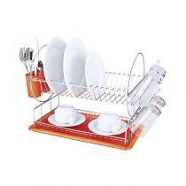 сушилник за съдове в бяло и оранжево