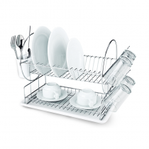 сушилник за съдове в бяло и прозрачно