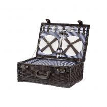 Кошница за пикник за четирима, тъмен ратан