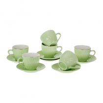 керамичен сервиз за кафе в зелено 6 души