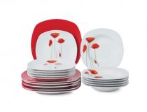 сервиз за хранене макове с червена квадратна чиния