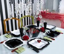 Сервиз за хранене Luminarc Authentic, черно-бял, 19 части