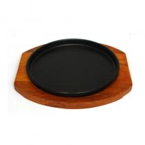чугунен сач с дървена подложка 28 см