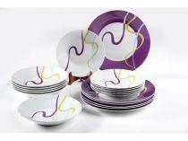 порцеланов сервиз за хранене бяло и лилаво 6380 - Pochehli