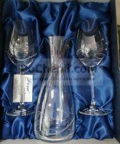 комплект чаши за вино за двама с камъни Swarovski