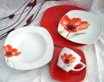 Порцеланов сервиз за хранене Червено цвете, 18 части