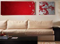 """Картина пано """"Червено и сиво"""", 90 * 40 см, 40 * 40 см 7287 - Pochehli"""