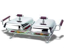 Двоен съд за топло сервиране с подгряващи свещи, серия NAPPA 6170 - Pochehli