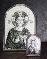 """Посребрено пано - икона """"Христос"""""""